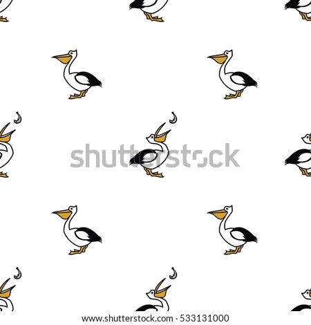 Birds collection Pelican Seamless pattern