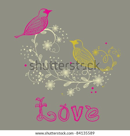Birds couple on the flower branch, hand drawn vector illustration - stock vector