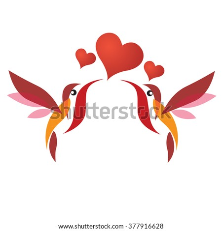 birds couple with heart . love symbol