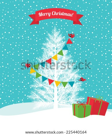 Birds decorate the Christmas tree Christmas garland/Birds decorate a Christmas tree/Illustration Christmas tree and bird cardinal - stock vector