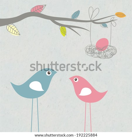 Birds family - father, mother and egg in the nest. Vector illustration. - stock vector