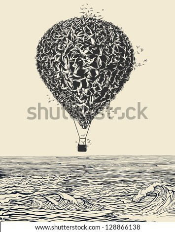 Birds flock in balloon formation flying over the sea - stock vector