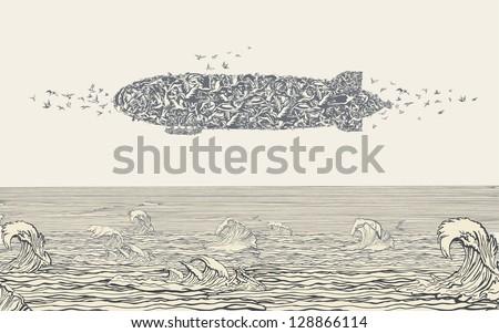 Birds flock in Zeppelin Formation above the Sea - stock vector