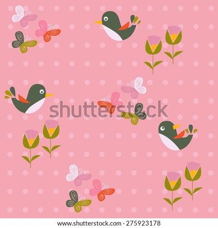 birds, flowers and butterflies on a pink background - stock vector