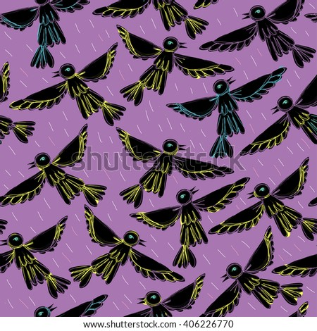 Birds fly in sky. Vector illustration with birds. Seamless pattern with birds on purple background. - stock vector