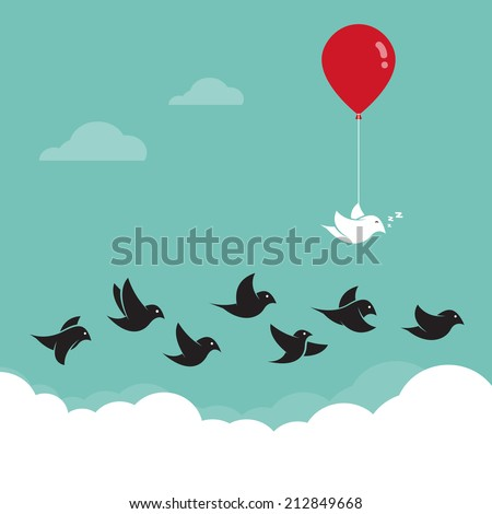 Birds flying in the sky and red balloons. Concept creative - stock vector