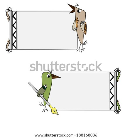 Birds Frames Set Stock Vector 188168036 - Shutterstock