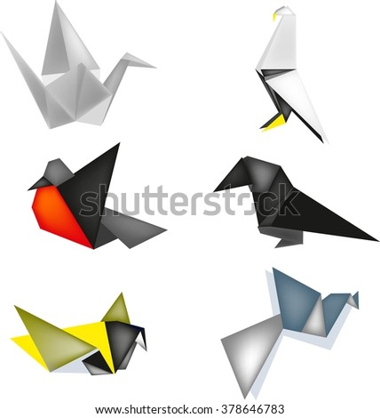 Birds From Paper In Japanese Style Origami Of Different Types Animals