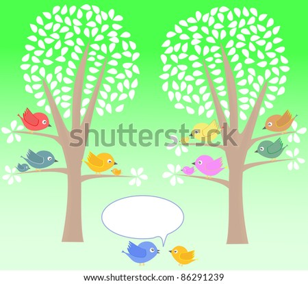 birds greeting summer card tree and white leaves. vector - stock vector