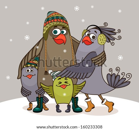 Birds happy family at winter embracing vector illustration - stock vector