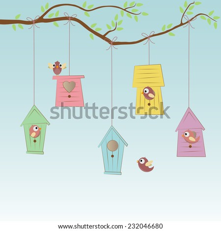 Birds Houses with some birds - stock vector