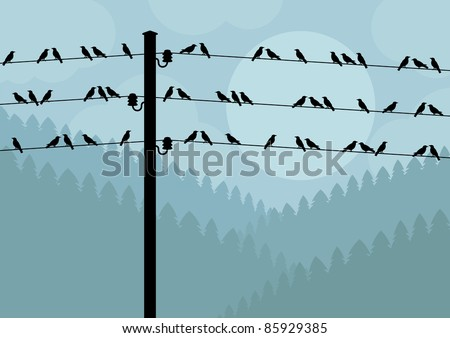 Birds in autumn countryside landscape background illustration - stock vector