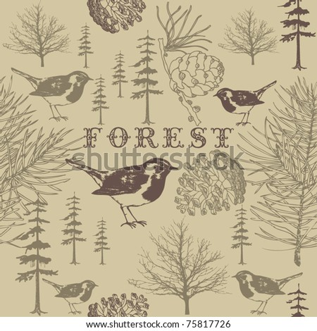 birds in forest. seamless pattern - stock vector