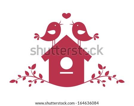 Birds in love 2 - stock vector