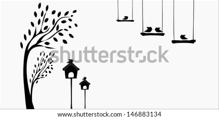 birds in love on a swing - stock vector