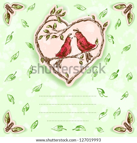 Birds in love postcard with copy space