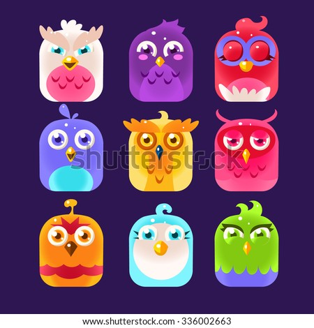 Birds in the boxes, Owl Icons Collection. Vector Illustration Collection