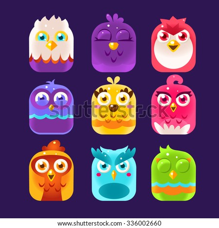 Birds in the boxes, Owl Icons Set. Vector Illustration Collection - stock vector