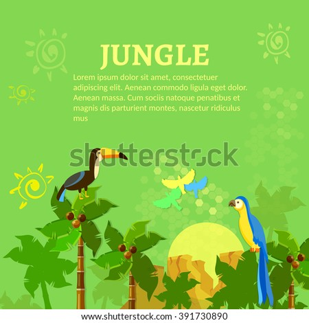 Birds in the jungle toucan and parrot vector illustration - stock vector
