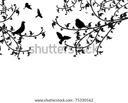 Birds in the tree and flying, vector illustration - stock vector