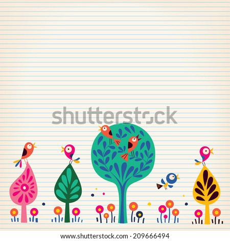 birds in the trees nature illustration lined paper background - stock vector