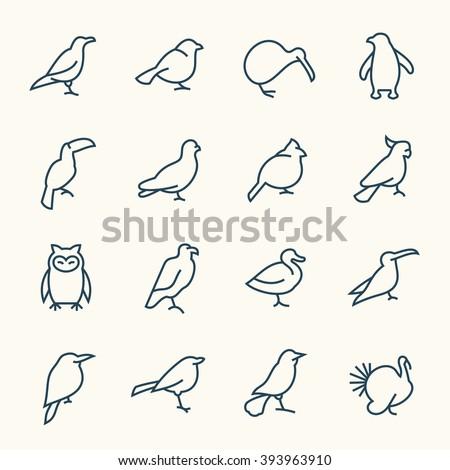 Birds line icons - stock vector