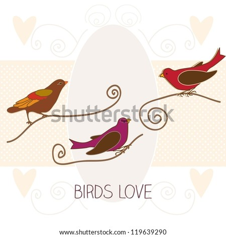 Birds love in vintage colors, vector illustration