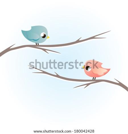 Birds on a branch.Vector illustration  - stock vector