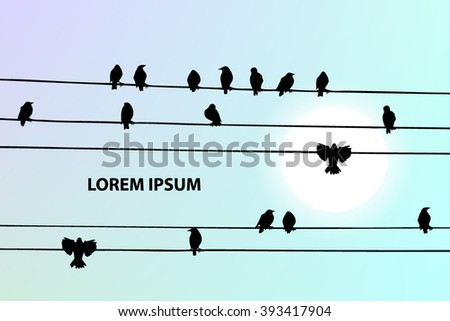 Birds on a wire. Vector - stock vector