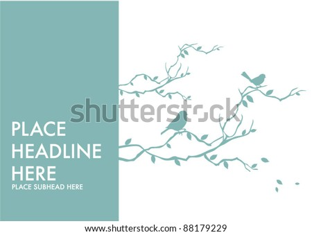 birds on branch template vector/illustration - stock vector