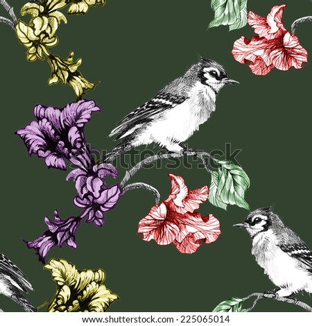 Birds on branch with flowers seamless pattern on green background vector illustration - stock vector