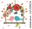 Birds on Perches - stock