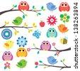 birds on tree digital clip art - stock vector