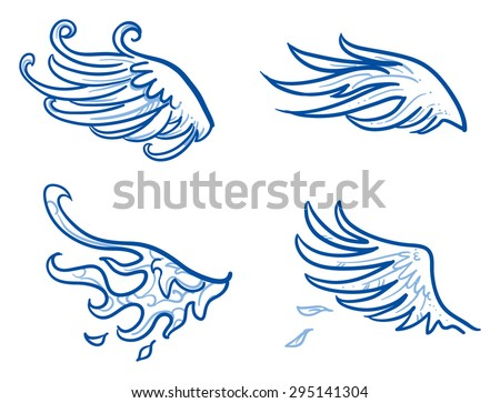 Birds or angel wings, feathers, fire wings. Hand drawn doodle vector illustration. - stock vector