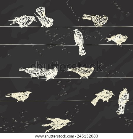 Birds pattern. Vector seamless  background of ravens Silhouettes on electrical wires at Chalkboard Style  - stock vector