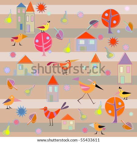 birds, pears, cottages - stock vector