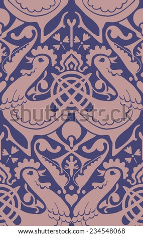Birds Retro Seamless Vector Pattern. Victorian style background. Detailed ornamental background