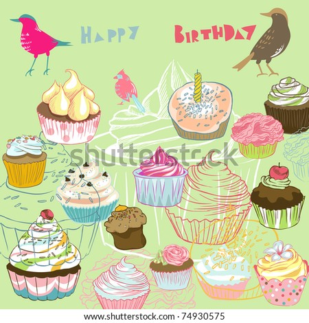 birds seamless background with cupcakes - stock vector
