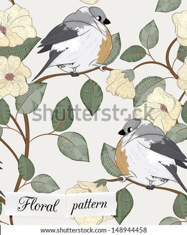 Birds seamless pattern can be used for wallpaper, website background, textile printing - stock vector