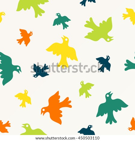 Birds seamless pattern, colorful texture Vector illustration - stock vector