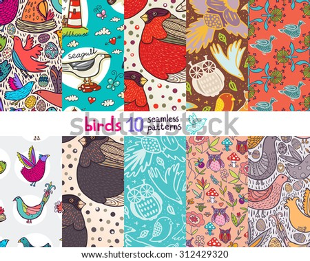 Birds 10 seamless pattern set.