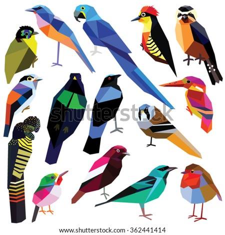 Birds-set colorful birds low poly design isolated on white background Bluebird,Reedling,Honeycreeper,Falconet,Tody,Macaw,Jay,Cotinga,Cockatoo,Robin,Kingfisher,Asity,Broadbill,Paradise bird,Woodpecker - stock vector