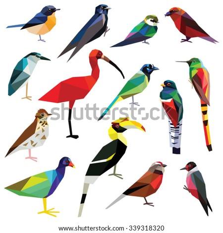 Birds-set colorful birds low poly design isolated on white background. Heron,Linet,Hornbill,Jay,Woodpecker,Flycatcher,Trogon,Gallinule,Martin,Crossbill,Comet,Ibis,Swallow,Thrush,Hummingbird. - stock vector