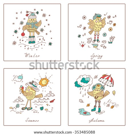 Birds set. Seasons set. Four seasons icons. Times of year. Weather. Cartoon birds at different times of year - Hand drawn doodles vector illustration - stock vector