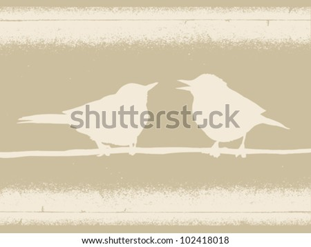 birds silhouette on brown background, vector illustration - stock vector
