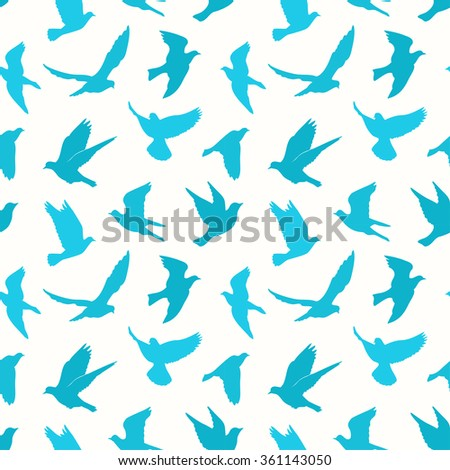 Birds silhouettes - flying seamless pattern - stock vector