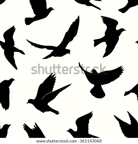 Birds silhouettes - flying seamless pattern. Black and white. - stock vector