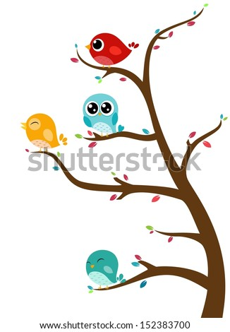 Birds sitting on branches - stock vector