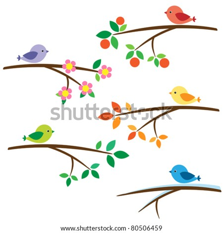 Birds sitting on different branches - stock vector