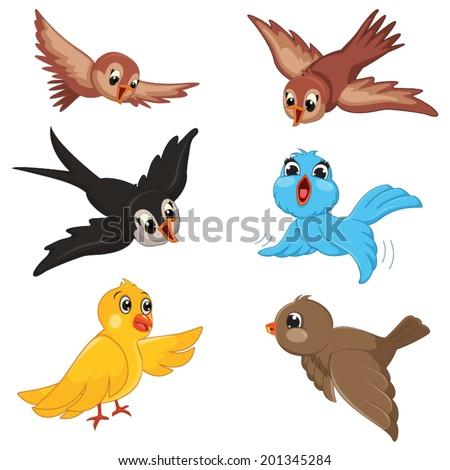Birds Vector Illustration Set - stock vector